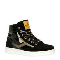 Vingino Tessa  hoge leren sneakers zwart/goud, Zwart/goud