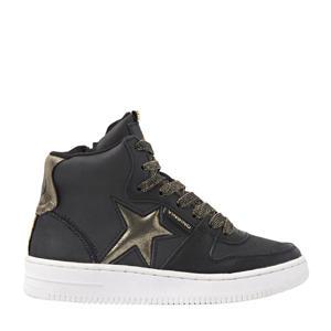 Lotte Mid  hoge leren sneakers zwart/goud