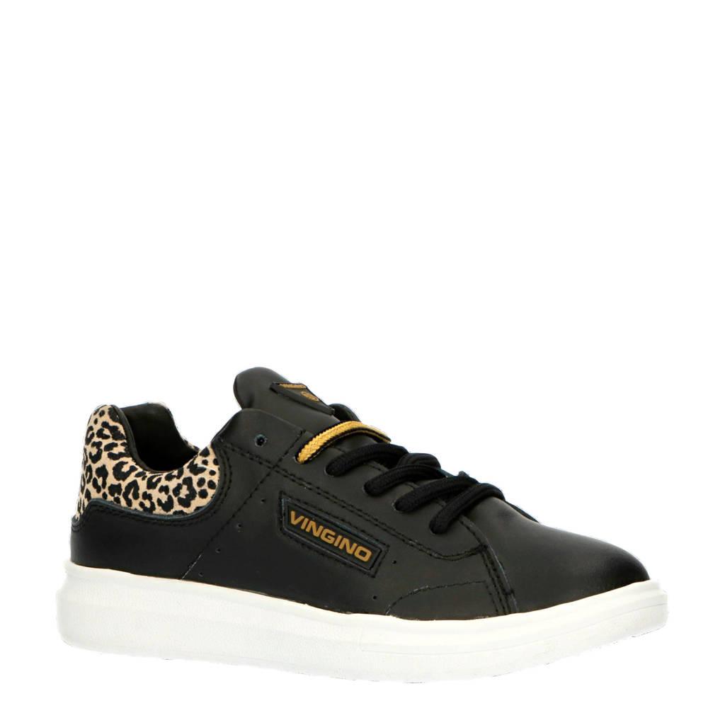 Vingino Britt  leren sneakers zwart/panterprint, Zwart/bruin/goud