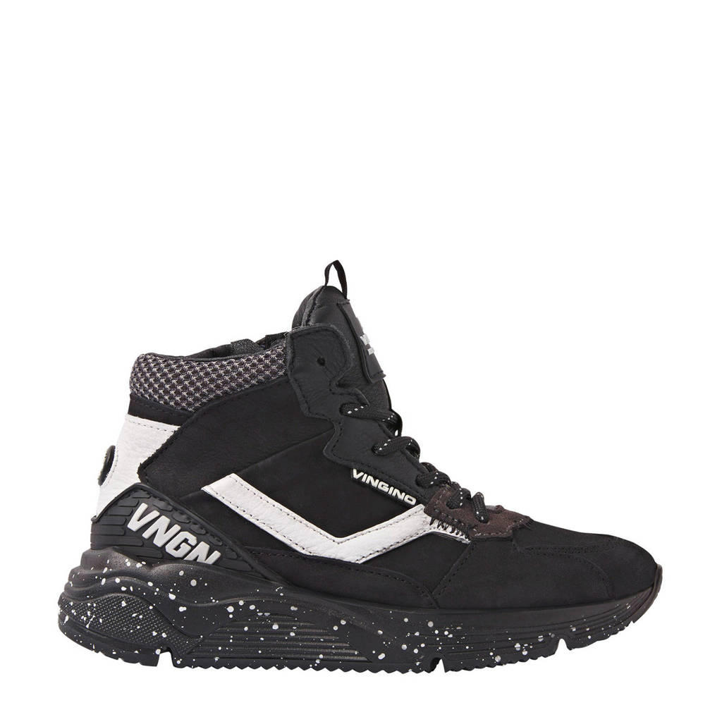 Vingino Celso Mid  hoge leren sneakers zwart/wit, Zwart/wit