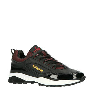 Fenna  leren dad sneakers zwart/rood
