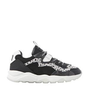Fenna  leren dad sneakers zwart/wit