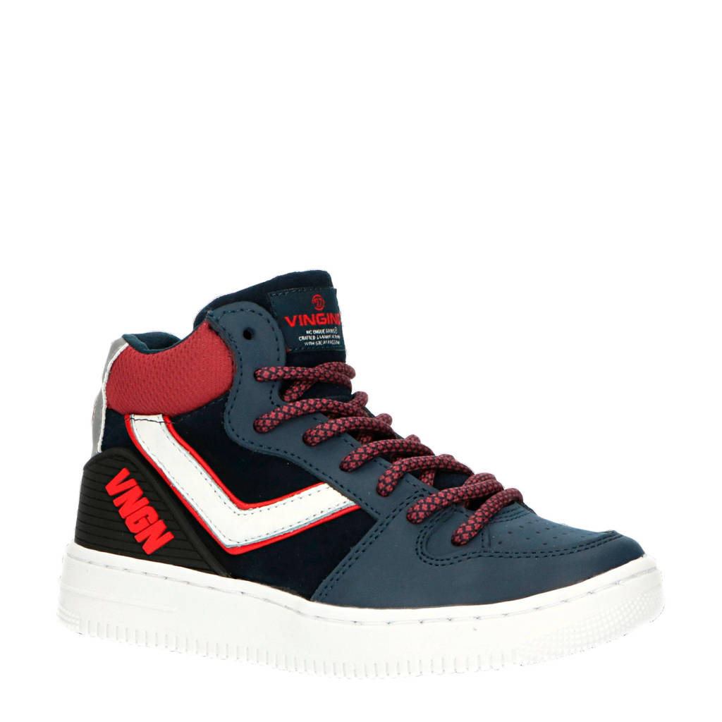 Vingino Alesio Mid  hoge leren sneakers blauw/rood, Blauw/rood/wit