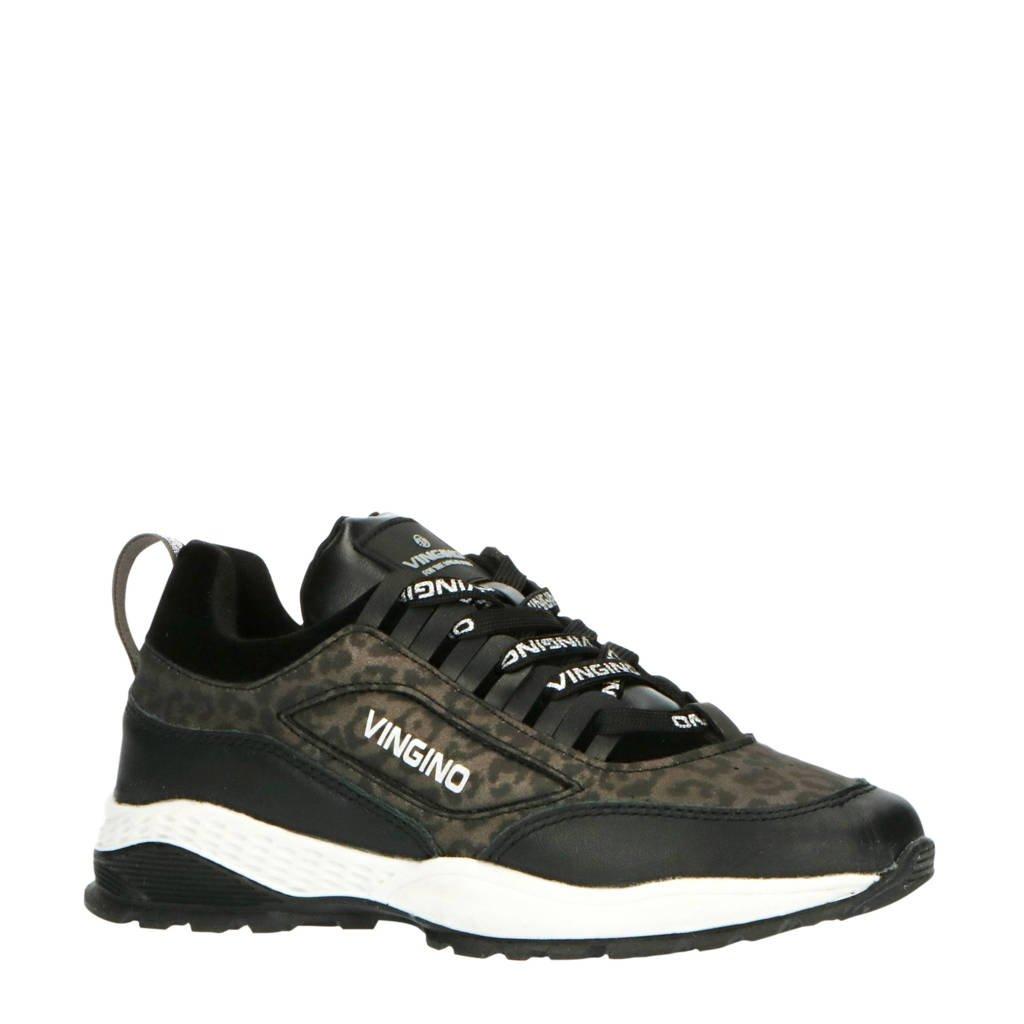Vingino Fenna  dad sneakers zwart/panterprint, Zwart/grijs