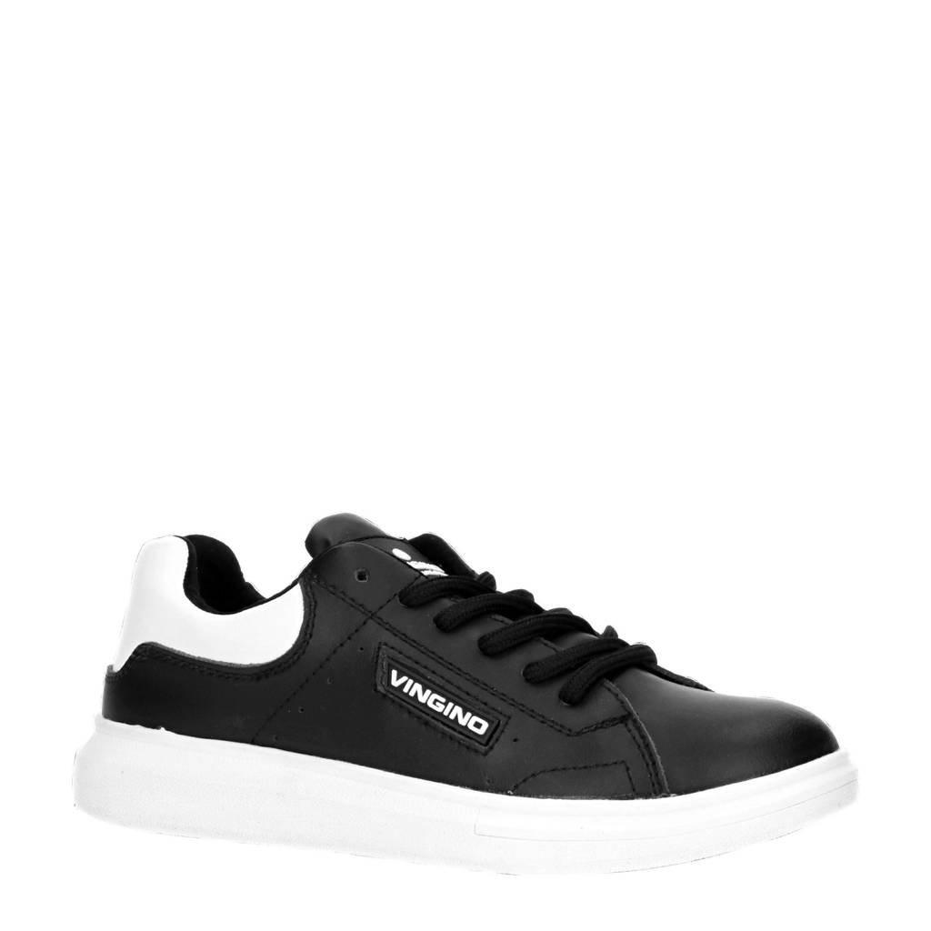 Vingino Sno  leren sneakers zwart, Zwart/wit