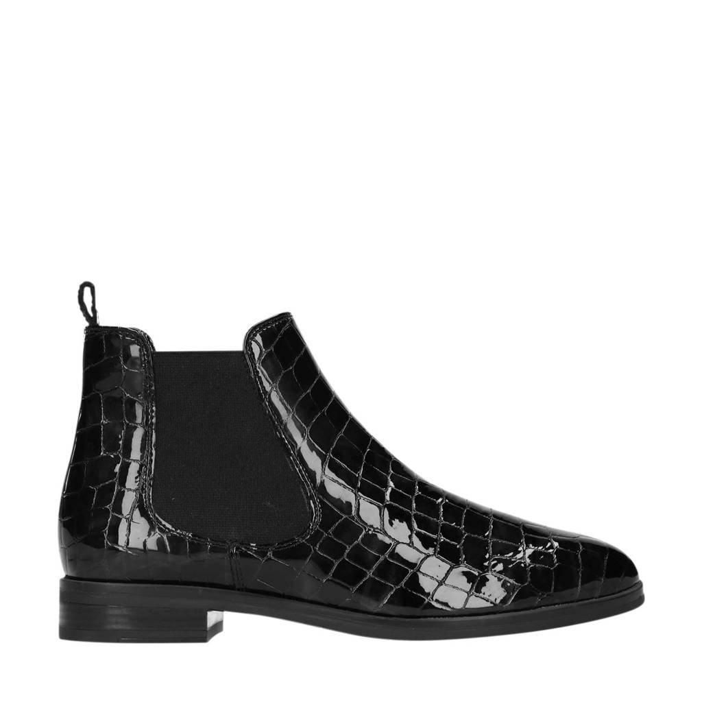 Manfield   lakleren chelsea boots crocoprint zwart, Zwart