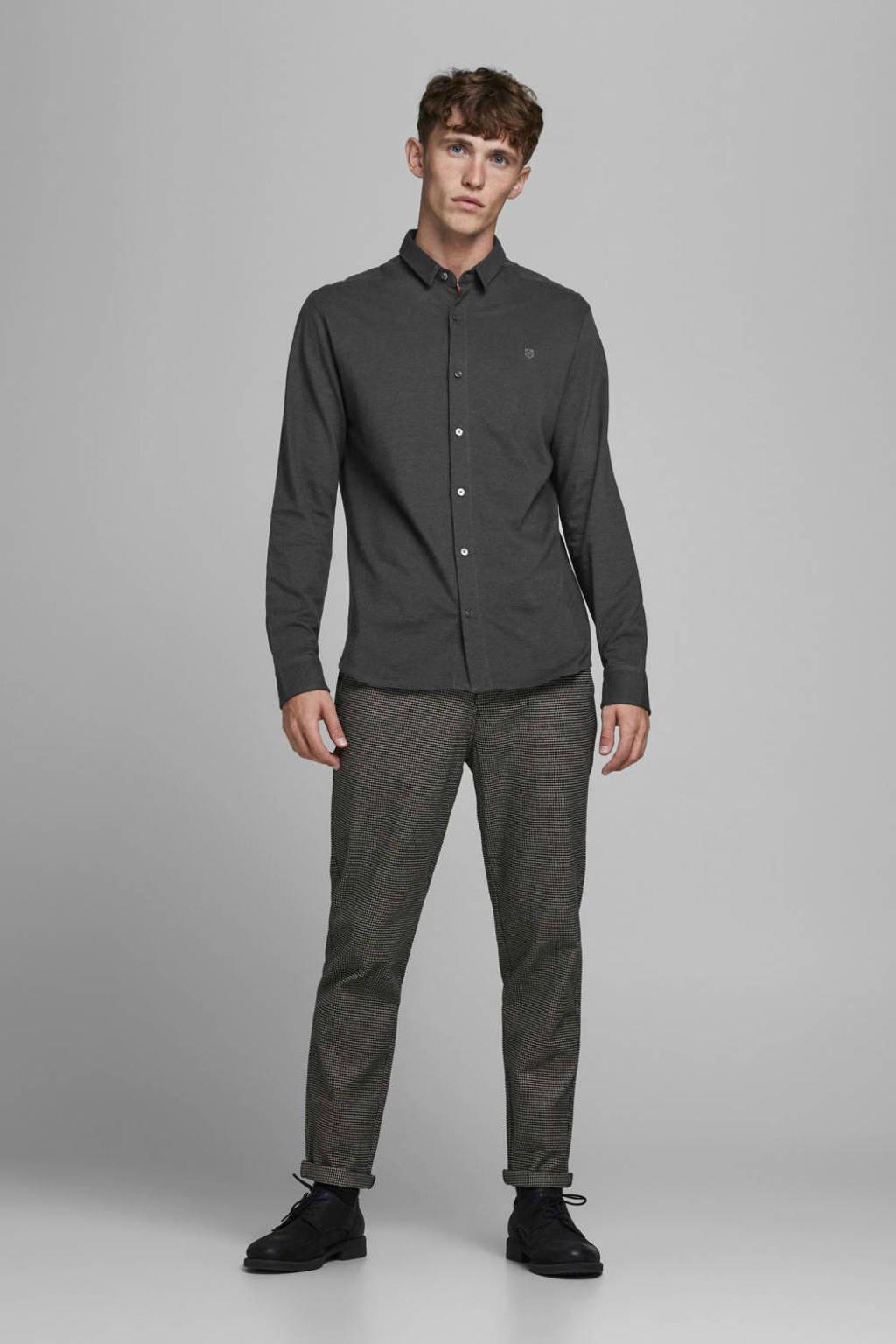 JACK & JONES PREMIUM regular fit overhemd met textuur donkerblauw, Donkerblauw