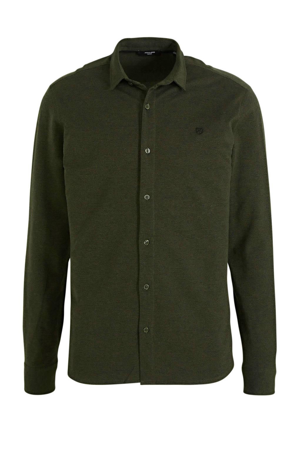 JACK & JONES PREMIUM regular fit overhemd met textuur donkergroen, Donkergroen