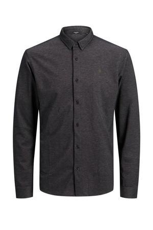 regular fit overhemd met textuur grijs melange
