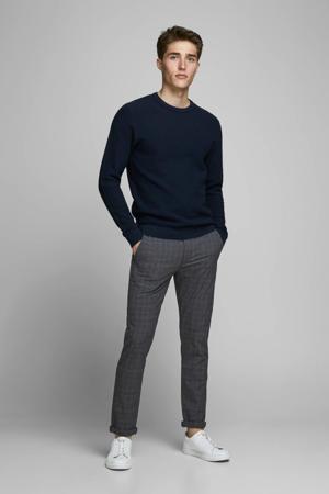 geruite slim fit pantalon Marco zwart