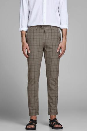 geruite slim fit pantalon Marco beige