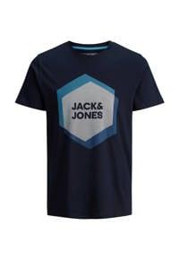 JACK & JONES CORE T-shirt met printopdruk donkerblauw/blauw, Donkerblauw/blauw
