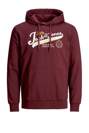 hoodie met logo donkerrood
