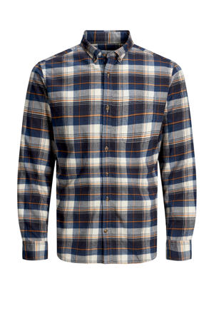 geruit regular fit overhemd blauw/wit/oranje