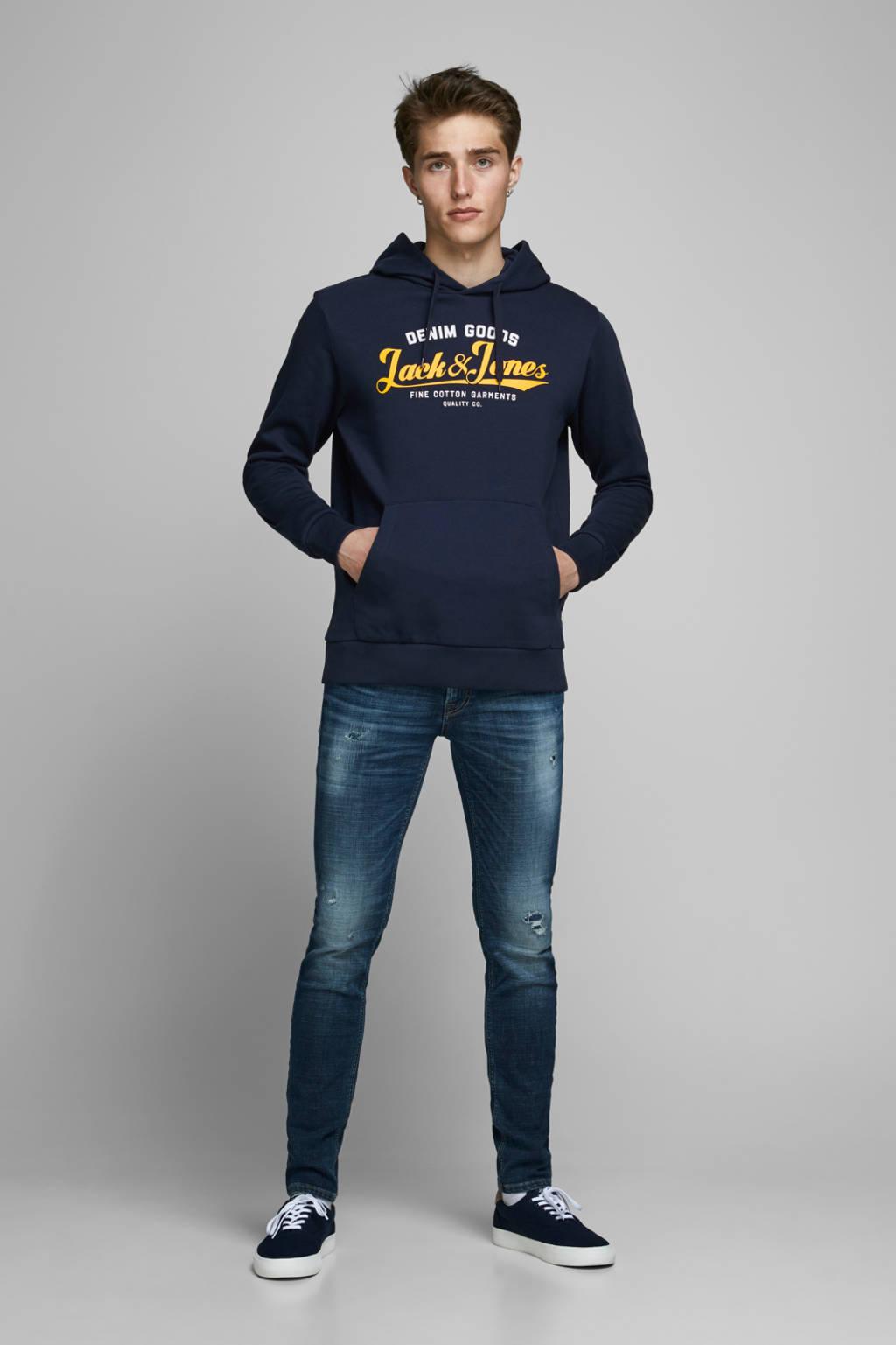 JACK & JONES ESSENTIALS hoodie met logo donkerblauw, Donkerblauw