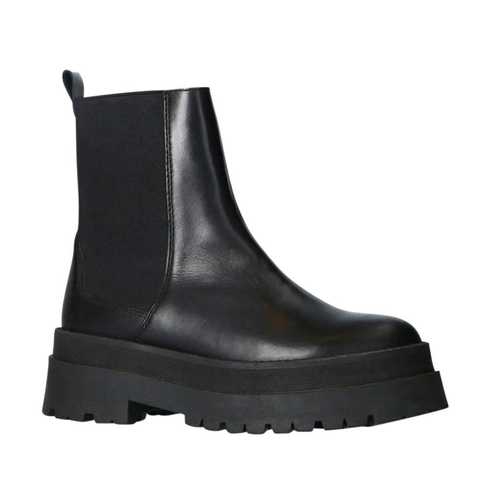 Sacha   leren plateau chelsea boots zwart, Zwart