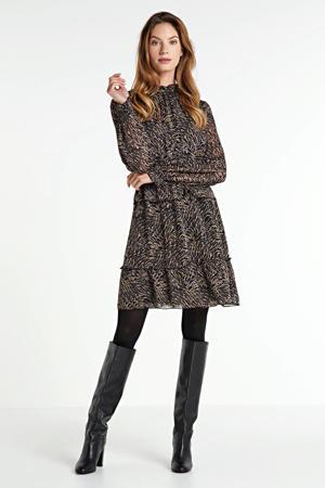 jurk Farrow met dierenprint en ruches bruin/ zwart