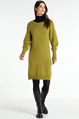 gebreide jurk Eden met wol olijfgroen