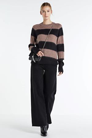 gestreepte trui Nicole met wol zwart/bruin
