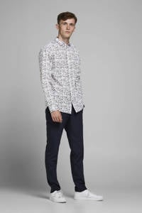 JACK & JONES PREMIUM gebloemd slim fit overhemd wit/blauw/donkerrood, Wit/blauw/donkerrood