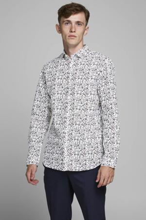 gebloemd slim fit overhemd wit/blauw/donkerrood