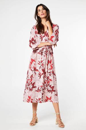 gebloemde jurk roze/rood