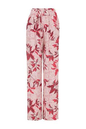 gebloemde high waist loose fit broek roze/rood