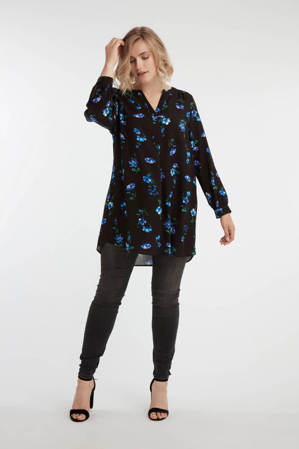 MS Mode tuniek met all over print zwart/blauw, Zwart/blauw