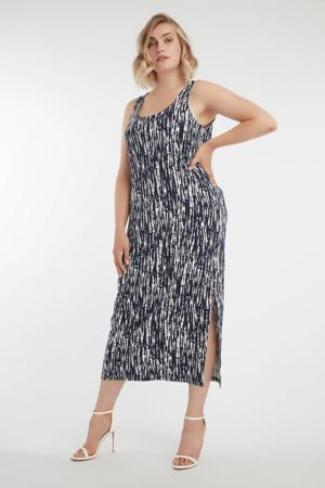 jurk met all over print en open detail donkerblauw/wit