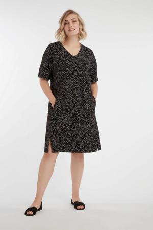 jurk met all over print donkergroen/zwart