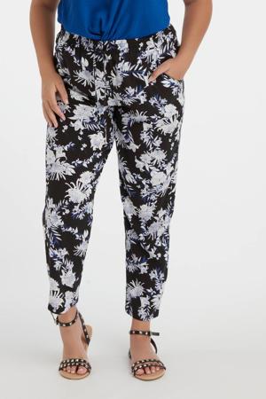 gebloemde straight fit broek zwart/blauw/wit