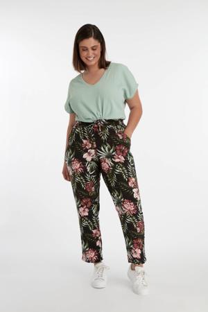 gebloemde straight fit broek zwart/roze/groen
