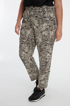 straight fit broek met zebraprint wit/zwart