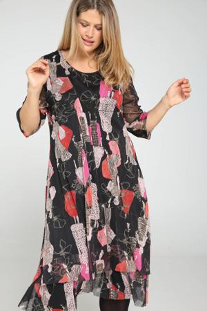 jurk met all over print zwart/multi