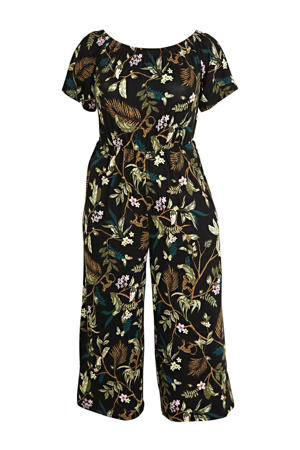off shoulder jumpsuit met all over print zwart/groen