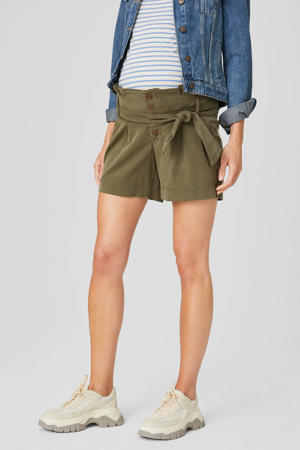 low waist regular fit short olijfgroen