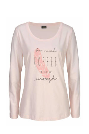 pyjamatop met printopdruk roze