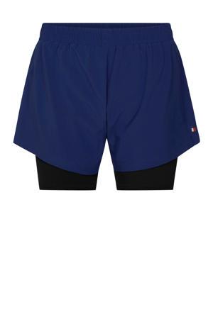 2-in-1 sportshort donkerblauw/zwart