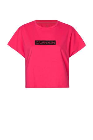 cropped sport T-shirt fuchsia/zwart