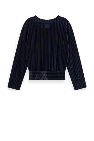 gestreepte fluwelen sweater donkerblauw