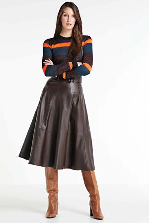 gestreepte fijngebreide trui zwart/ blauw