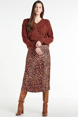 gemêleerde gebreide trui rood