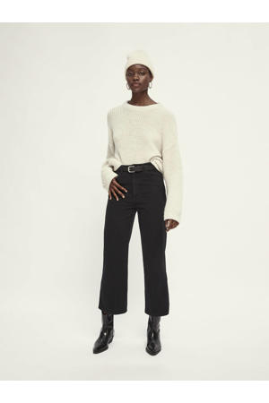 high waist straight fit jeans van biologisch katoen zwart