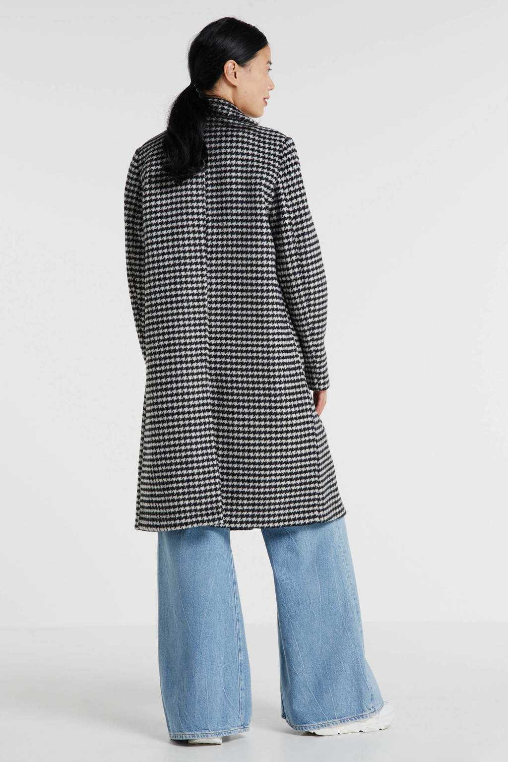 Scotch & Soda coat met pied-de-poule zwart/wit, Zwart/wit