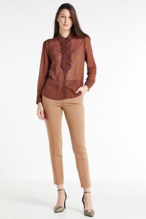 gebloemde semi-transparante blouse lichtbruin