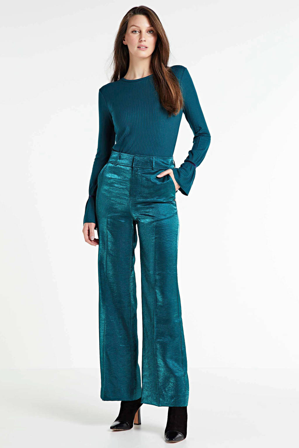 Scotch & Soda high waist loose fit broek turquoise, Turquoise