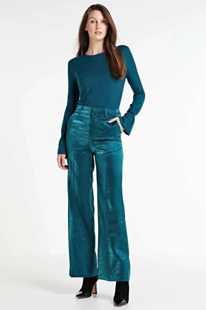 high waist loose fit broek turquoise