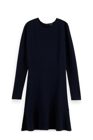 fijngebreide A-lijn jurk donkerblauw