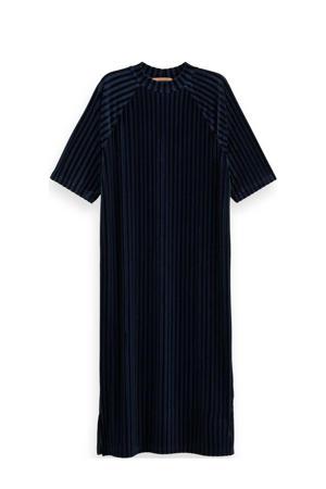 gestreepte fluwelen T-shirtjurk donkerblauw