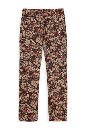 regular fit pantalon met all over print donkerpaars/multi
